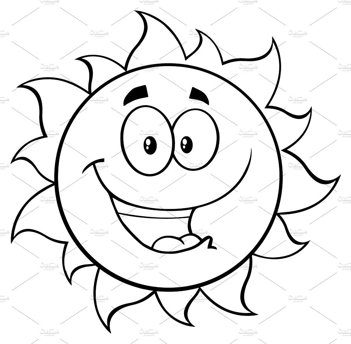 Black And White Happy Sun ~ Illustrations ~ Creative Market