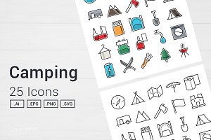 Camping Adventure Icons Set