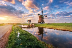 Dutch windmills at sunrise