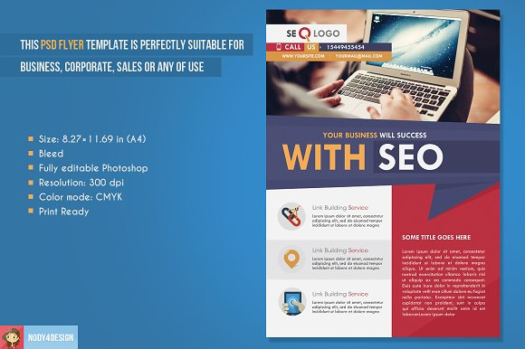 Flat Seo Flyer in Flyer Templates - product preview 1