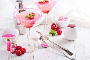 Pink raspberry martini