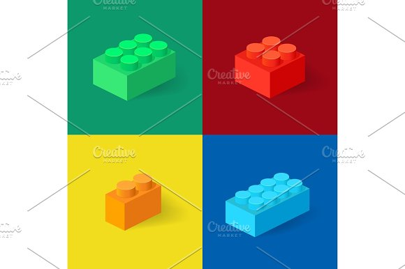 Isometric Plastic Building Blocks With Shadow Vector Set Of The Colored Bricks