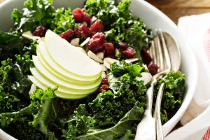 Kale salad with dried cranberry and apple
