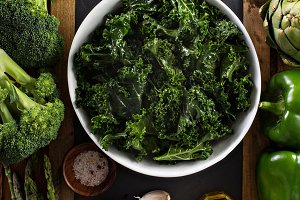 Making kale salad