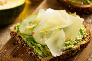 Avocado toast with cucumber and parmesan