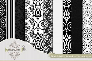 Black & White Damask Backgrounds