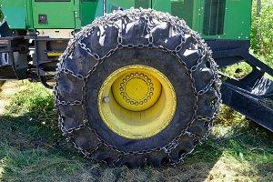 Tire on Green Log Skidder