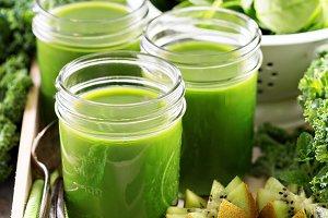 Green juice in mason jars