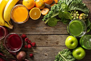 Variety of fresh vegetable and fruit juices