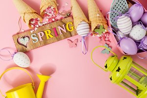 Spring or Easter Concept. Top View.