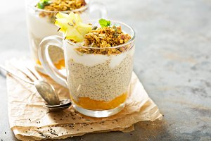Chia pudding with exotic fruits and granola
