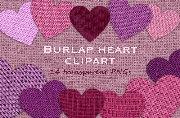 Pink Burlap Hearts