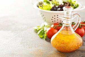 Italian vinaigrette dressing in a vintage bottle