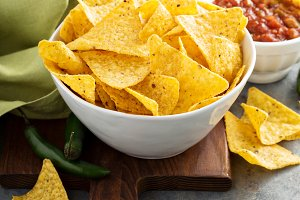 Corn tortilla chips in big bowl