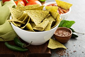 Healthy corn tortilla chips with spinach and flax seeds