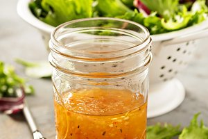Italian vinaigrette dressing in a mason jar