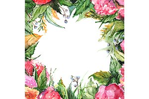 Watercolor flower floral frame art