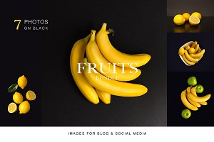Fruits on black background