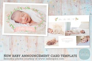 AN013 Newborn Baby Card Announcement