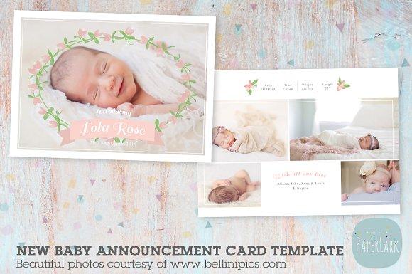 AN013 Newborn Baby Card Announcement