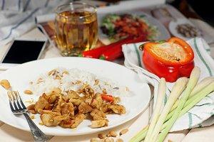 Spicy pork with peanut and lemongrass