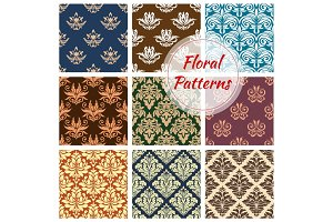 Floral and flourish vector seamless patterns set