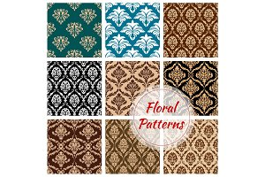 Floral damask ornament vector seamless pattern set