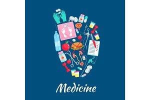 Heart poster of vector medicine items
