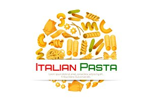 Italian pasta vector poster or menu