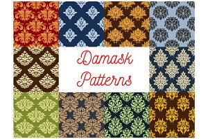 Damask floral pattern ornament vector seamless set