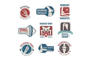 Orthopedics and radiology clinic medical badge set