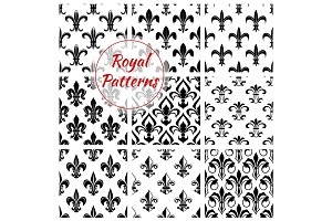 Floral royal fleur-de-lis vector patterns set