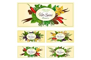 Spices, herbs and seasonings vector banners set