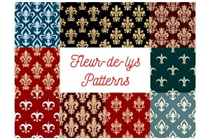 Fleur-de-lis vector patterns set of french lily
