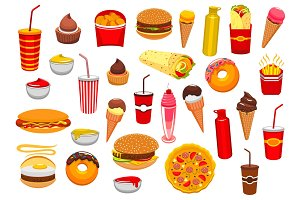 Fast food meal vector isolated icons set