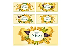 Pasta vector banners set for Italian cuisine