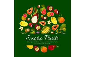 Exotic tropical fresh fruits vector poster