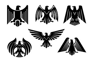 Eagle blazon vector isolated heraldic birds icons