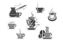 Coffee makers and cups vector isolated icons