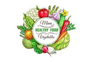 Vegetable, healthy food menu poster design