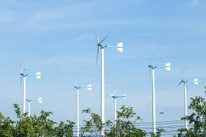 Wind turbines generate electricity