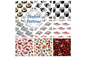 Seafood sushi, fish food seamless vector patterns