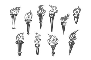 Sport games flame torch vector icons