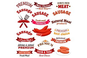 Meat sausage products vector icons, ribbons set