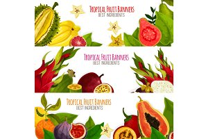 Exotic tropical fresh fruits vector banners set