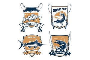 Fishing trip and fisher club vector icons set