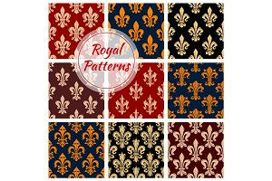 Royal flower fleur-de-lis vector patterns set