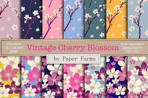 Vintage cherry blossom digital paper