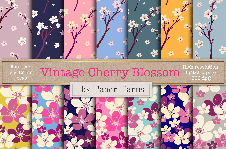 Vintage Cherry Blossom Digital Paper Patterns Creative Market