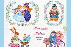 romantic rabbits watercolor